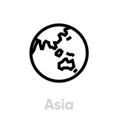 Asia globe earth icon editable line vector