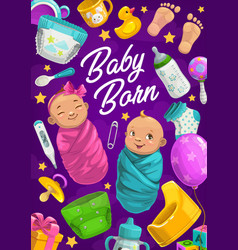 Baby born poster girl and boy shower card vector