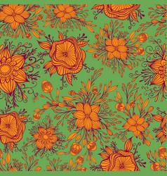 beautiful blooming flowers seamless fantasy vector image
