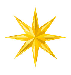 Beautiful faceted shiny gold crystal star vector