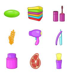 beauty salon icons set cartoon style vector image