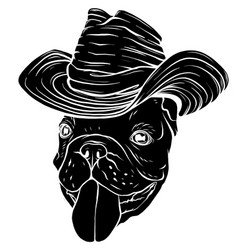 Black silhouette pug in cowboy s hat vector