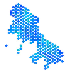Blue hexagon skyros greek island map vector