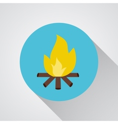 Bonfire - icon with shadow on a round blue vector image