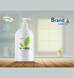Bottle with hygienic soap on a table vector