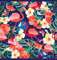 bright seamless pattern tropics flamingos and vector image