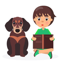 Brown dachshund with reading boy closeup on white vector