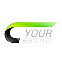 C letter black and green logo design Fast speed vector image