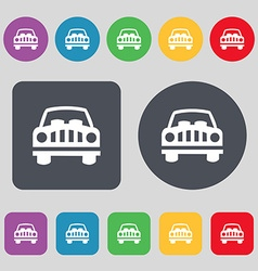Car Icon sign A set of 12 colored buttons Flat vector