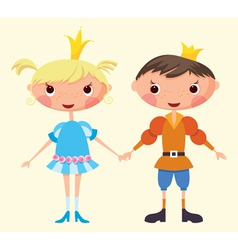cartoon prince and princess vector image