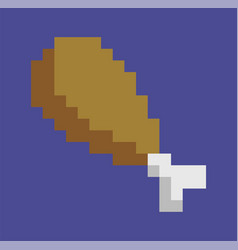 chicken leg fried drumstick isolated pixel art vector image