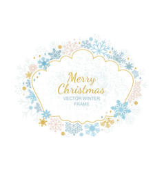 circle snowflake frame christmas framework vector image