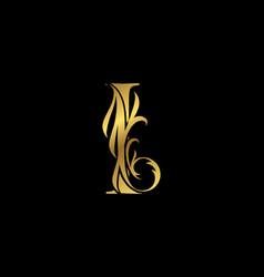 Classy elegant gold i letter floral logo vintage vector