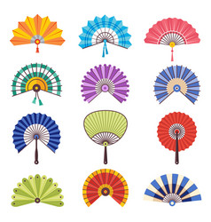 colored hand fan asian beautiful paper vector image