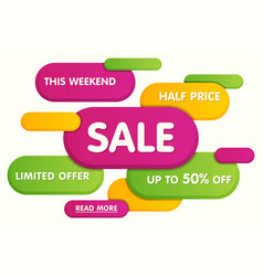 colorful horizontal sale banner design vector image