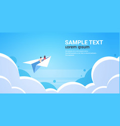 couple in love flying on paper airplane man woman vector image