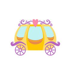 cute golden princess fairytale carriage cartoon vector image