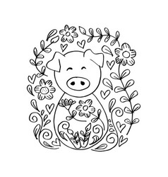 cute pig with floral coloring book year of the p vector image