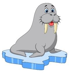 Cute walrus cartoon on ice vector