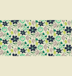 cutout paper style flower seamless pattern vector image