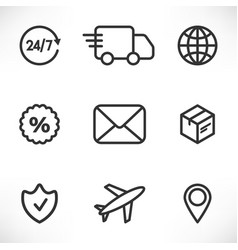 delivery icons set line vector image