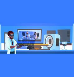 Doctor in vr glasses examine results of mri vector