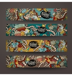 Doodles cinema movie design banner vector