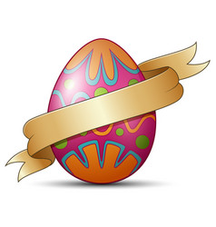 easter eggs decorated with brown ribbon vector image