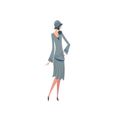 Elegant woman in blue retro dress and hat vector