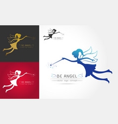 fairy flying logo vector image