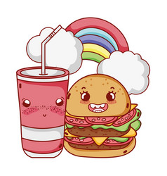 Fast food cute tasty burger plastic cup and vector