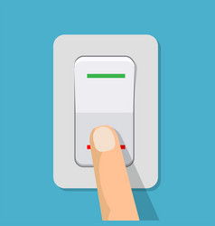 Finger presses the button switch vector