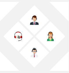 Flat icon telemarketing set of help headphone vector