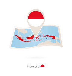 Folded paper map indonesia with flag pin vector