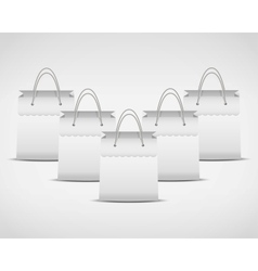 four white shopping bag vector image