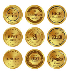 Gold badges labels vector