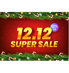 golden december 12 super sale shopping day with vector image