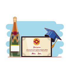 Graduation card with hat and wine vector