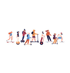 group modern people riding on personal vehicle vector image