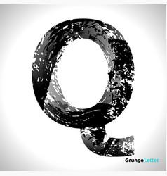 grunge letter q black font sketch style symbol vector image