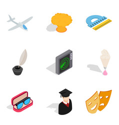 Handicraft production icons set isometric style vector
