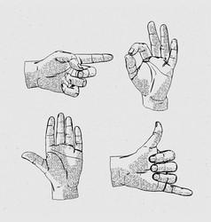 Hands line icon set vector