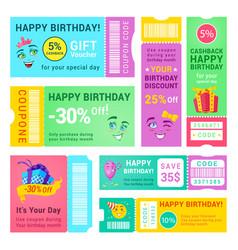happy birthday promo vouchers design vector image