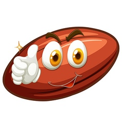 Happy face on rugby ball vector image