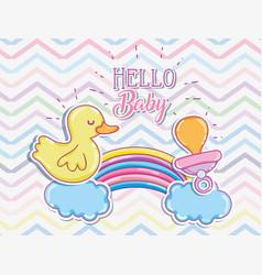 Hello baby cartoons card vector
