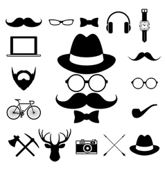Hipster retro vintage elements icon set vector