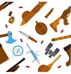hunting icons pattern with knife axe shotgun in vector image