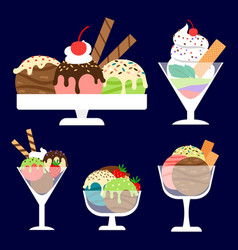 Ice cream in bowls set vector