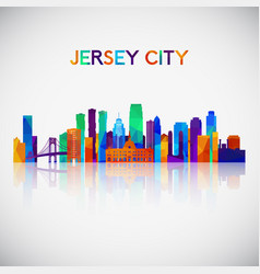 jersey city skyline silhouette vector image