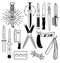 knife labels and emblems vector image